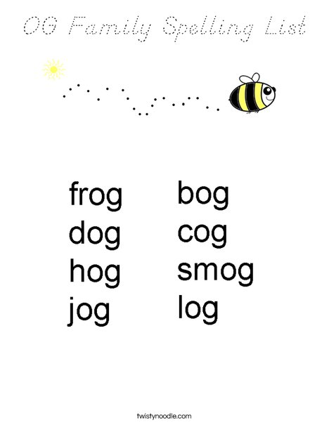 OG Family Spelling List Coloring Page