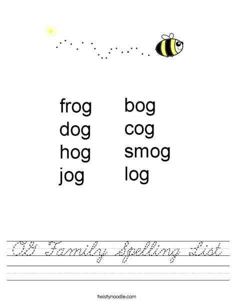 OG Family Spelling List Worksheet