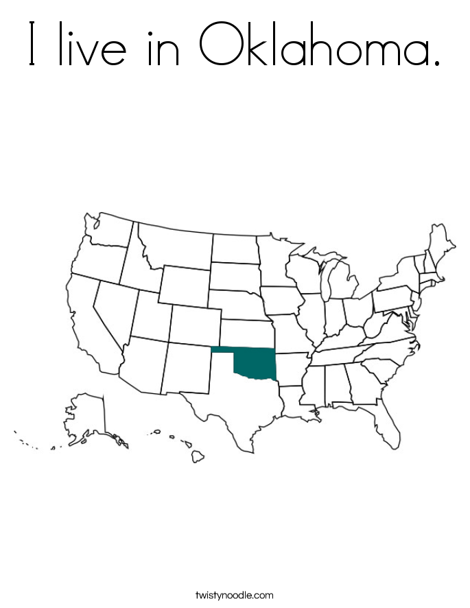 I live in Oklahoma. Coloring Page