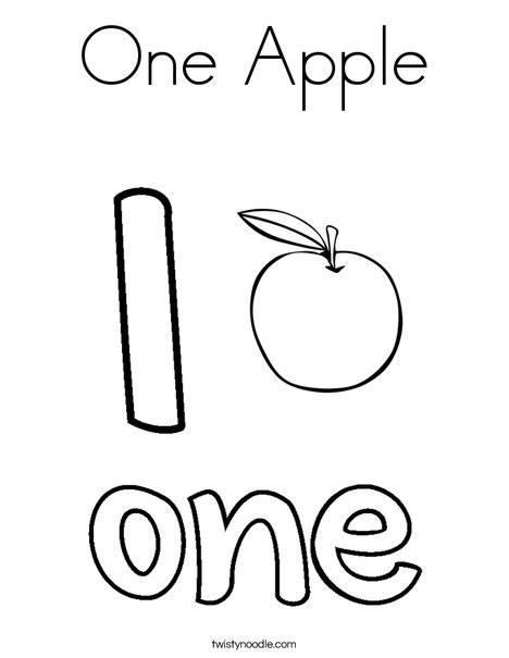 One apple coloring page twisty noodle for Number one coloring page
