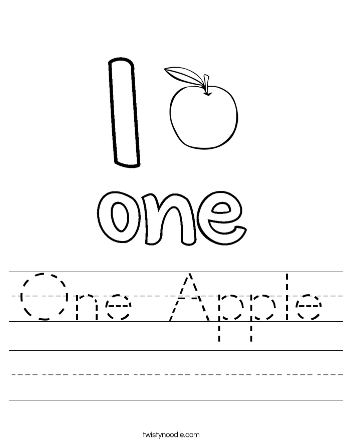 One Apple Worksheet Twisty Noodle