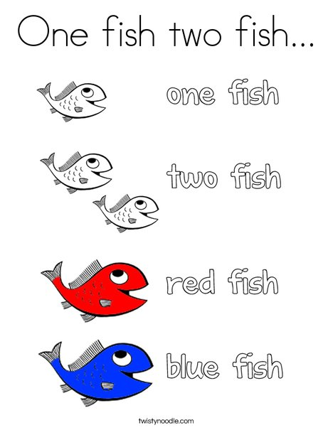 One fish two fish coloring page twisty noodle for One fish two fish red fish blue fish coloring page