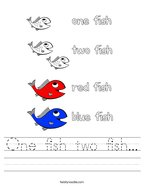 One fish two fish Handwriting Sheet