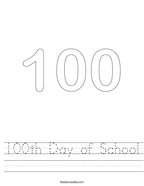 100th Day of School Handwriting Sheet