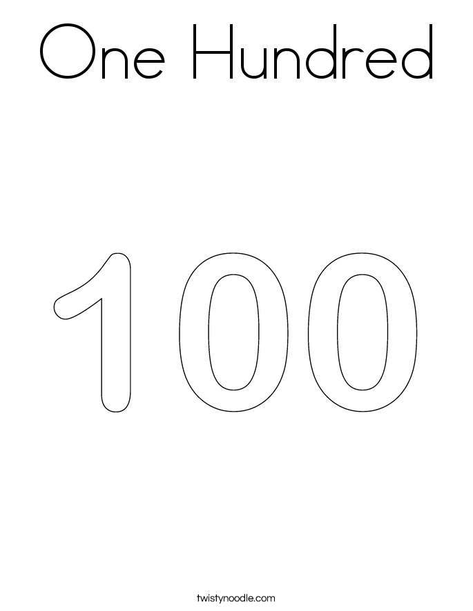 One Hundred Coloring Page