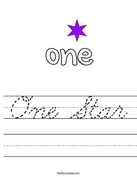 One Star Worksheet