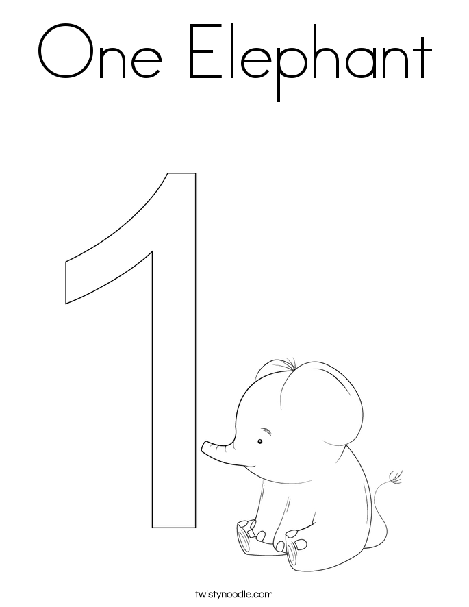 One Elephant Coloring Page