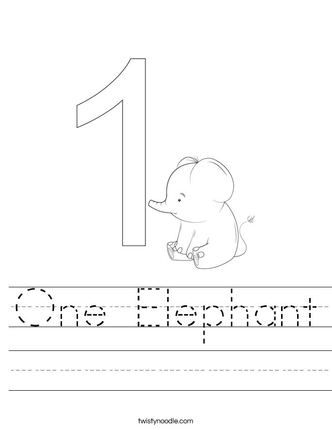 One Elephant Worksheet