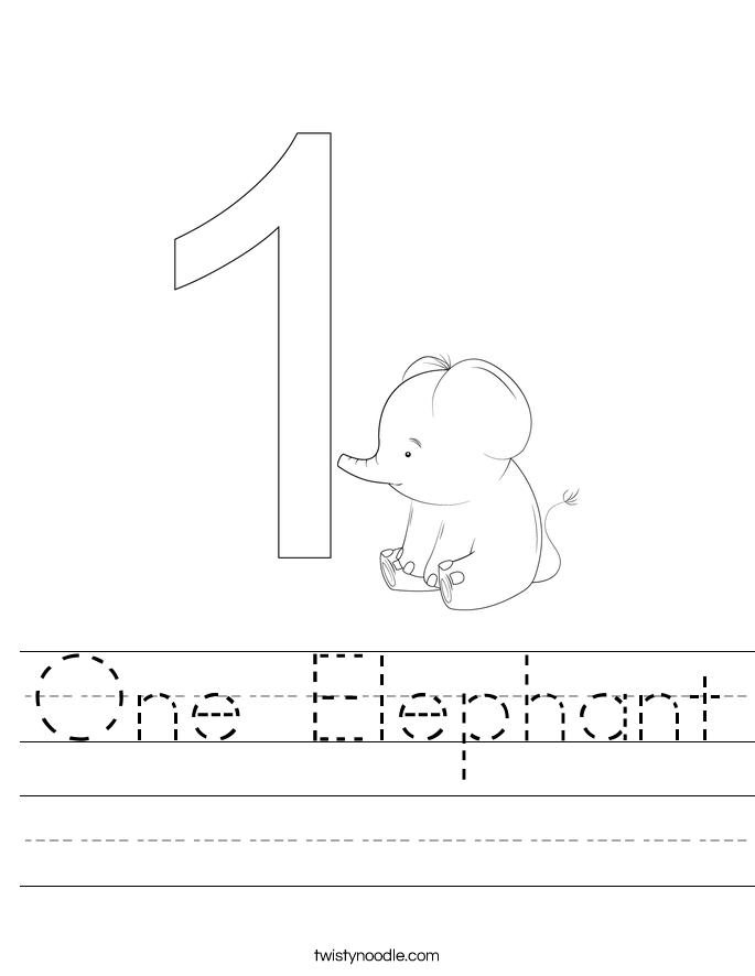 One Elephant Worksheet