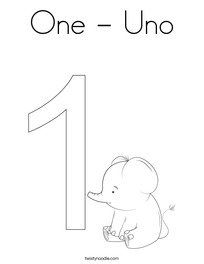 One - Uno Coloring Page