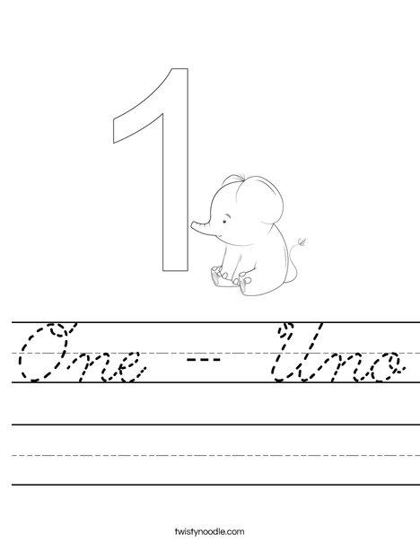 Elephant One Worksheet