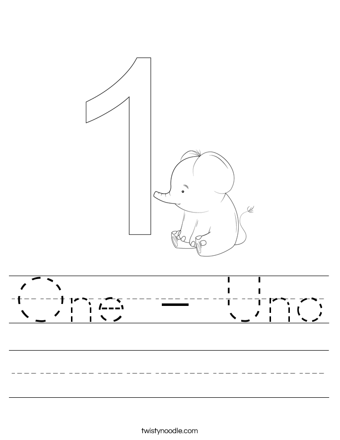 One - Uno Worksheet