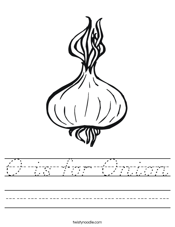 O is for Onion Worksheet