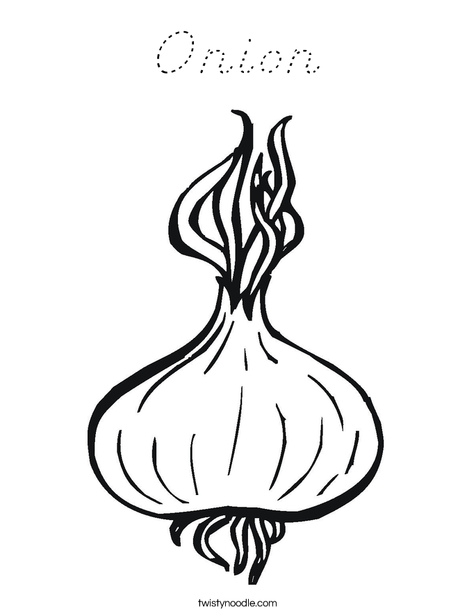 Onion Coloring Page - D'Nealian - Twisty Noodle