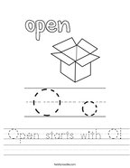 Open starts with O Handwriting Sheet