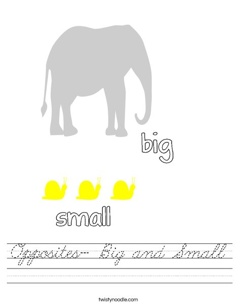 Opposites- Big and Small Worksheet