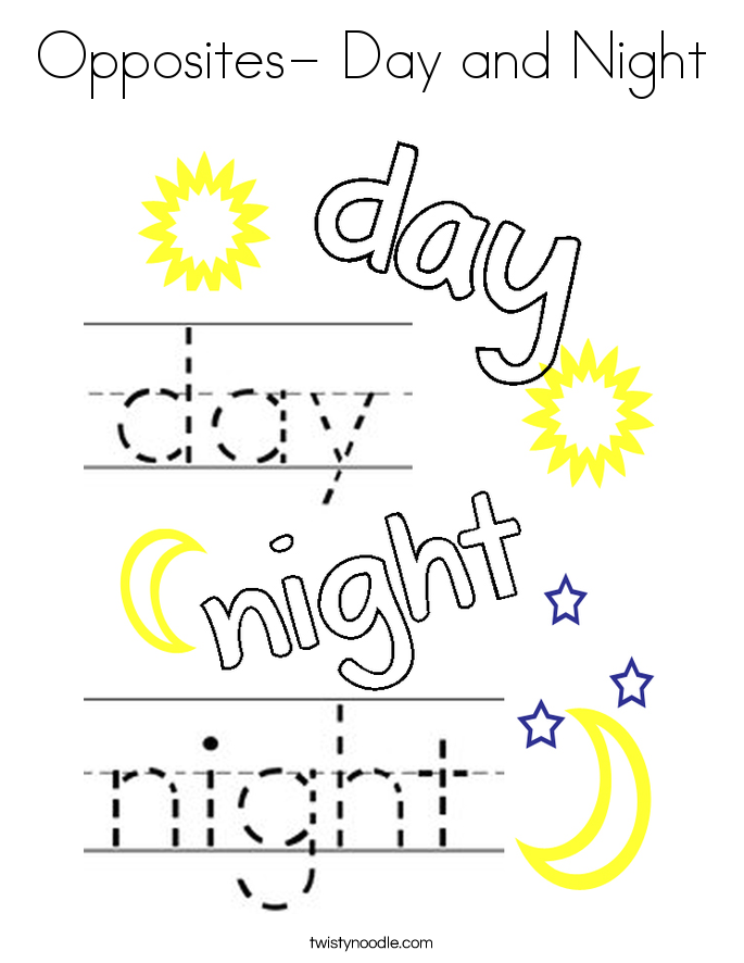 Opposites- Day and Night Coloring Page