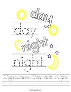 Opposites- Day and Night Handwriting Sheet