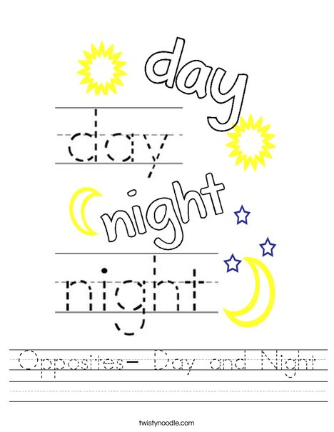 Opposites- Day and Night Worksheet
