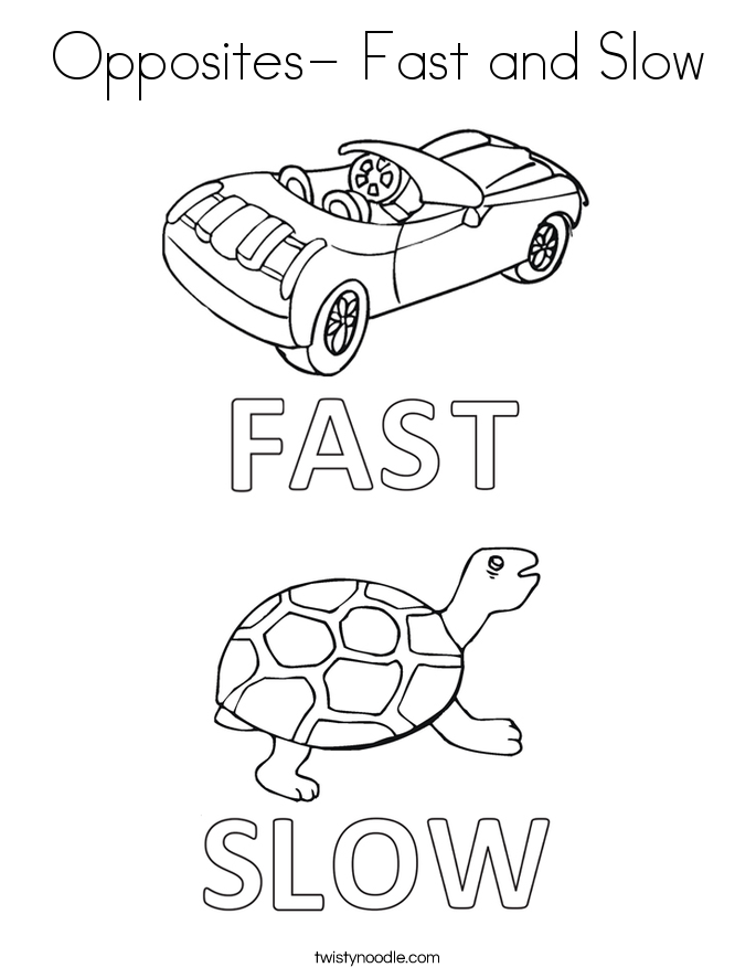 Opposites- Fast and Slow Coloring Page