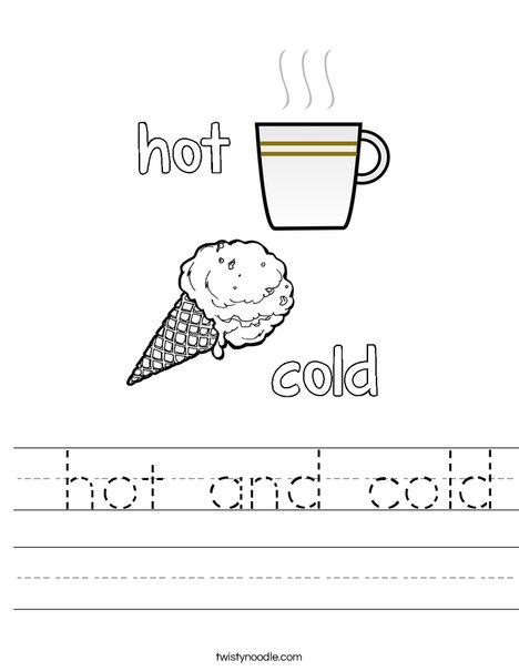 Opposites- Hot and Cold Worksheet
