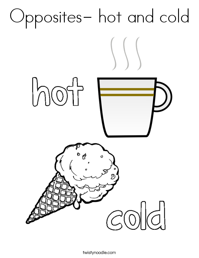 Opposites- hot and cold Coloring Page