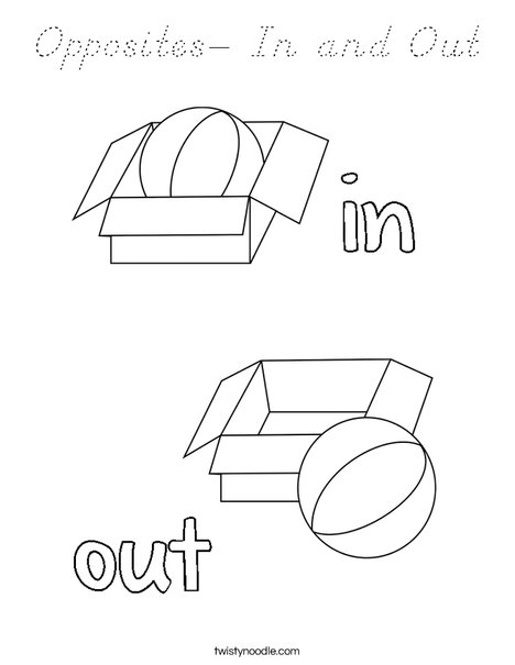Opposites- In and Out Coloring Page