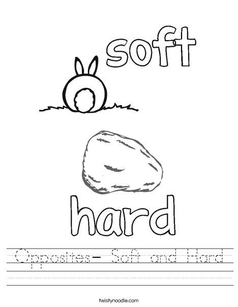Opposites- Soft and Hard Worksheet