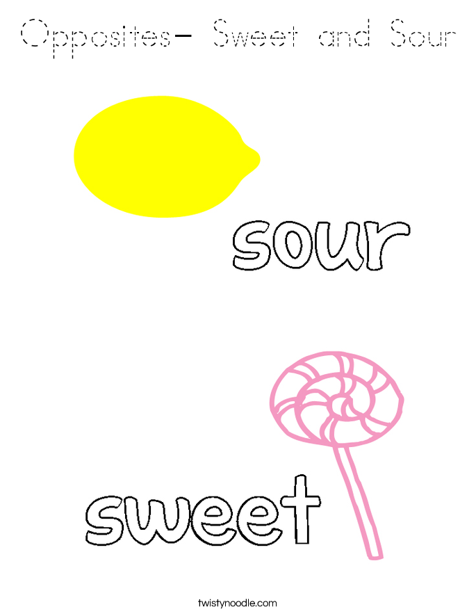 Opposites- Sweet and Sour Coloring Page