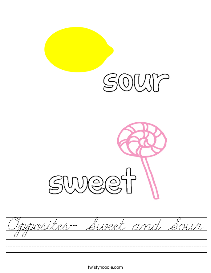 Opposites- Sweet and Sour Worksheet