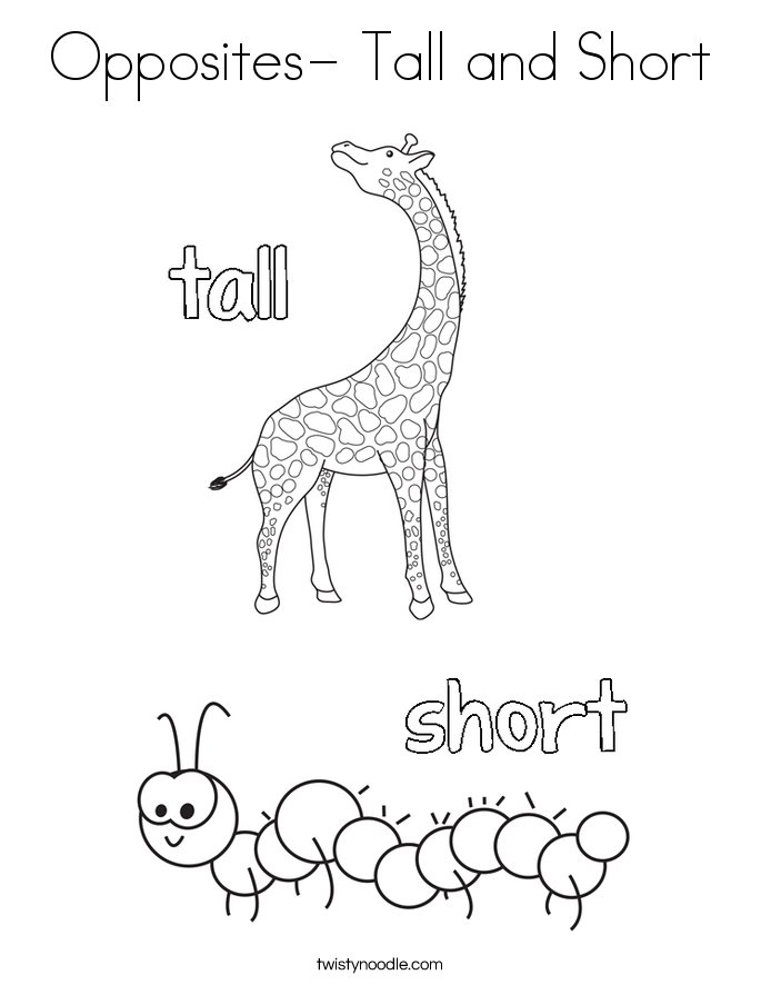 opposites tall and short coloring page - Big And Small Coloring Pages