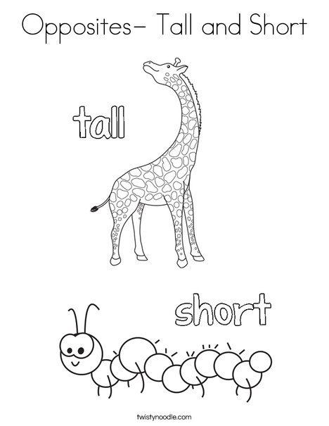 Opposites tall and short coloring page