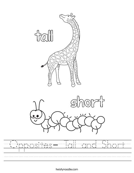 Opposites- Tall and Short Worksheet