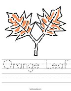 Orange Leaf Handwriting Sheet
