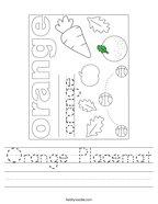Orange Placemat Handwriting Sheet