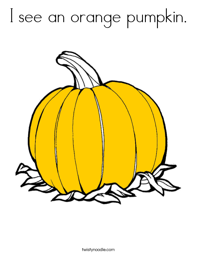 I see an orange pumpkin. Coloring Page