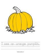 I see an orange pumpkin Handwriting Sheet
