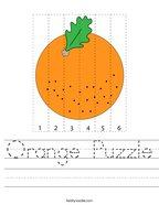 Orange Puzzle Handwriting Sheet