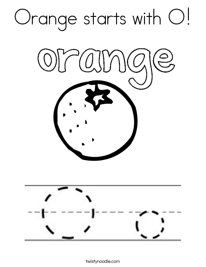 Orange starts with O! Coloring Page