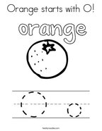 Orange starts with O Coloring Page