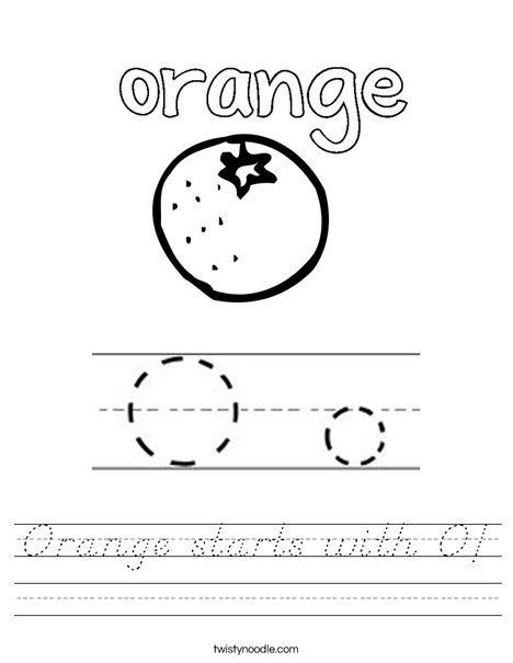 Orange starts with O! Worksheet