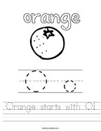 Orange starts with O Handwriting Sheet