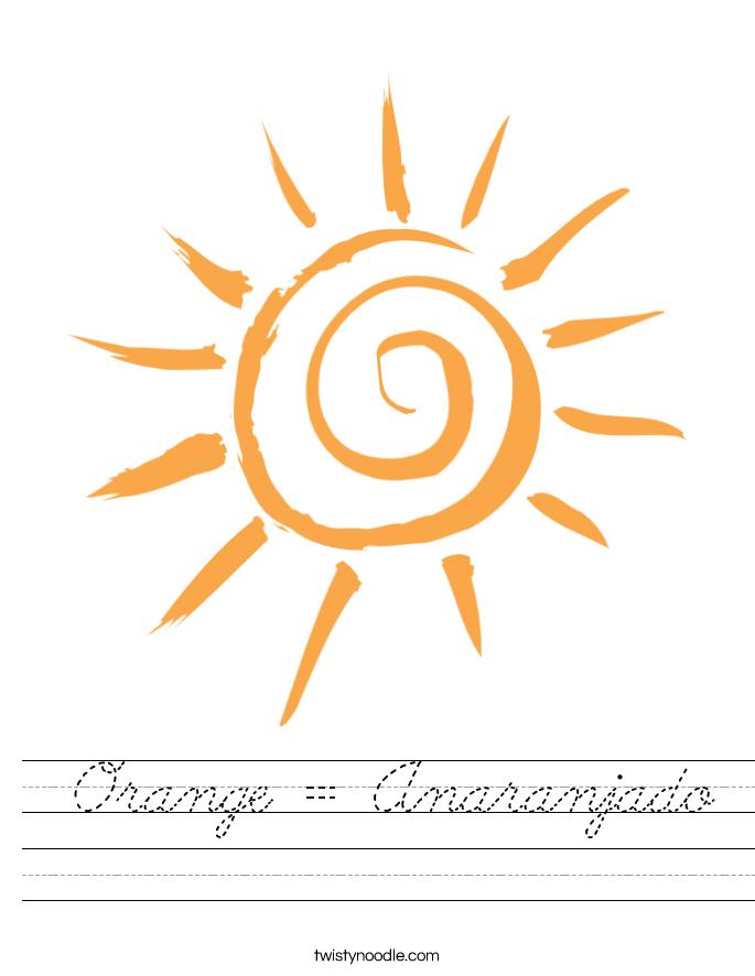 Orange = Anaranjado Worksheet