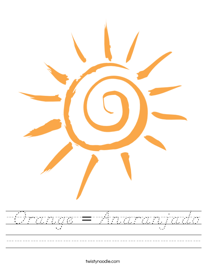 Orange = Anaranjado Worksheet