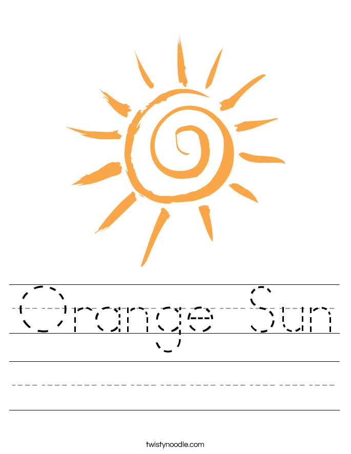 Orange Sun Worksheet Twisty Noodle – Sun Worksheet