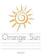 Orange Sun Handwriting Sheet