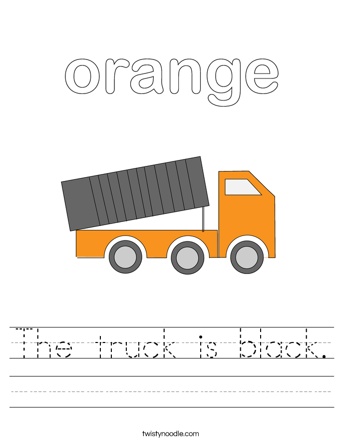 The truck is black. Worksheet