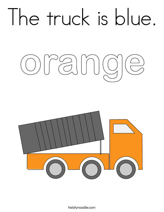 The truck is blue. Coloring Page