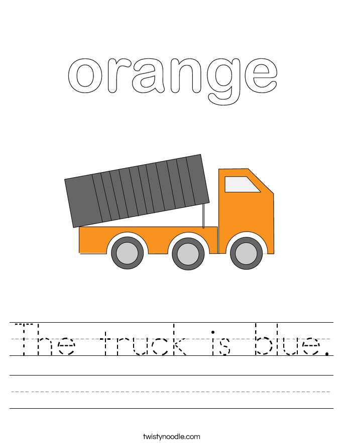 The truck is blue. Worksheet
