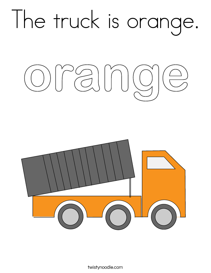 The truck is orange. Coloring Page